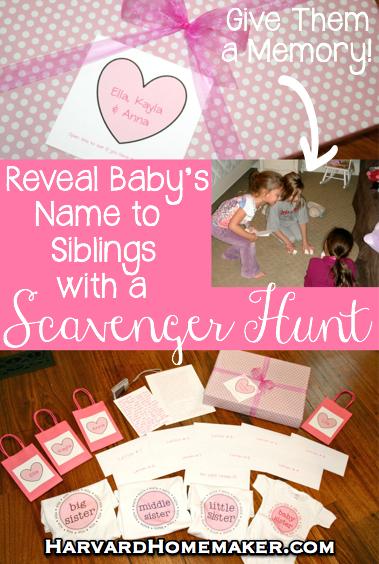 Baby Name Reveal Scavenger Hunt by Harvard Homemaker