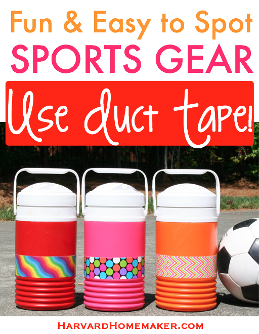 Fun & Easy to Spot Sports Gear - Use Duct Tape! by Harvard Homemaker