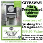 GIVEAWAY!  Win a Personalized Address Stamper from WishingTreeDesigns.com.  Expired!!!